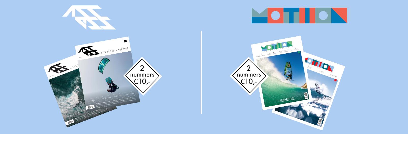 abonnement op Motion windsurf magazine en Access kiteboard magazine